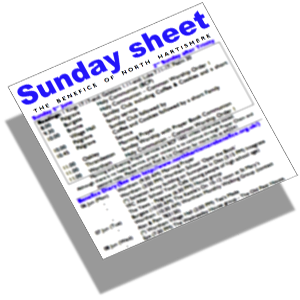 Sunday sheet for Brome and Oakley (St. Mary's and St. Nicholas') Burgate (St.Mary of Pity) Palgrave (St. Peter's) Stuston (All Saint's) Thrandeston (St. Margaret of Antioch) Wortham (St. Mary the Virgin)